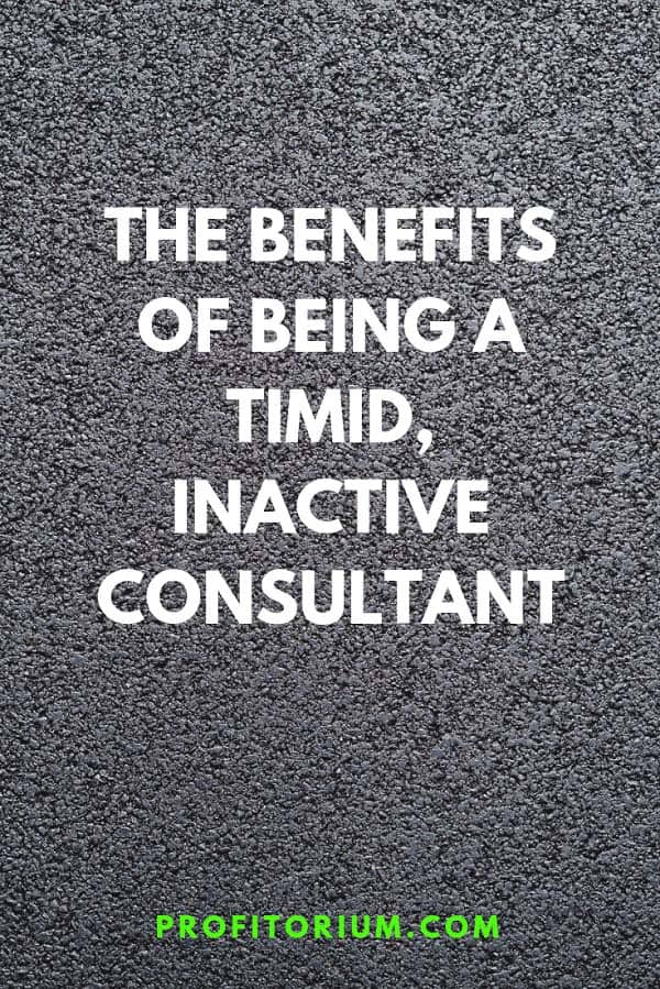 The Benefits of Being a Timid, Inactive Consultant - Profitorium #freelance #consulting #consultant #freelancer